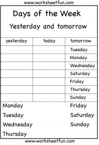 Days of the Week – Yesterday and Tomorrow – 6 Worksheets / FREE Printable Worksheets – Worksheetfun Days Of The Week Activities, English Activities For Kids, Book Activities, Free Printable Worksheets, Kindergarten Worksheets, First Grade Worksheets, Math Journals, Learn English, Primary English