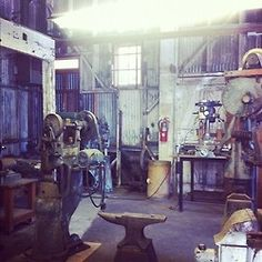 Yvon Chouinard's workspace in the Tin Shed in Ventura.