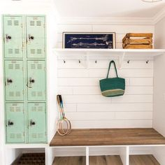 "I am in LOVE with this mudroom via @_rafterhouse_ Mudrooms are one of my favorite rooms in a home!! I seriously don't know what we did with all the ""stuff"" before we had one. Today on the blog (link in profile) I'm sharing some amazing mudroom inspiration! Don't think you have room for one? There are some creative ways to create one in small spaces. Check it out! www.houseofhargrove.com/farmhouse-mudrooms"