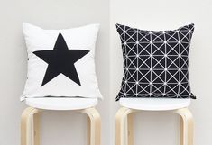 Double Sided Pillow Big star pillow Black Geometric by gridastudio