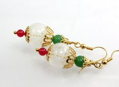 Blown Glass Christmas Earrings by NancysCrystalFantasi on Etsy, $20.00