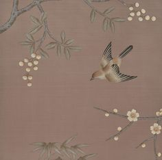 Fromental hand painted on to silk wallpaper