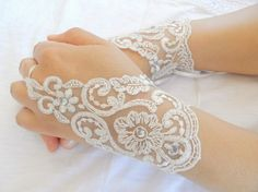 bridal Gloves ivory lace gloves collarSparkling by WEDDINGHome, $28.00