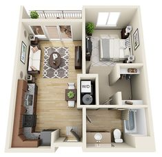 Image result for studio apartments plans