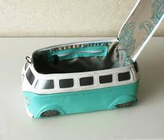 $170. VW Hippie Bus Bag Turquoise Small Bus Leather by krukrustudio