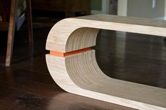 The Bass Line bench is made from Oak veneered plywood. The plywood is turned on it's edge and layered many times to create a unique striped pattern a… Modular Furniture, Ikea Furniture, Plywood Furniture, Furniture Plans, Modern Furniture, Furniture Design, Entryway Furniture, Bathroom Furniture Inspiration, Oak Veneer Plywood