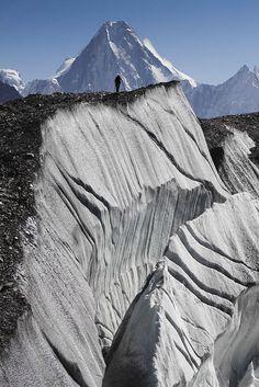 'Hiker on Baltoro Glacier, Northern Pakistan'byScott Robertson