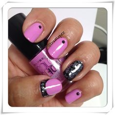 Pink and black glitter manicure