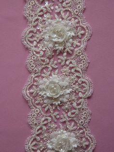 1 YARD of  Luxury Floral Crystal Beaded Bridal by allysonjames, $98.98