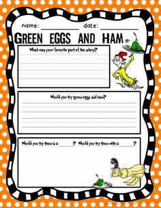 Green Eggs and Ham ~ {Writing Freebie}