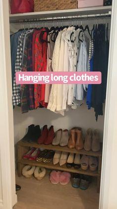 Small Closet Organization, Home Organization Hacks, Clothing Organization, Bedroom Organization Diy, Organizing, Diy Clothes Life Hacks, Clothing Hacks, Organizar Closet, Closet Hacks