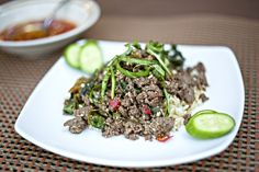 This Thai take on a ground venison recipe comes together lightening fast - perfect for a busy weeknight! Ground Venison Recipes, Fish Sauce, Japchae, Basil, Clean Eating, Paleo, Beef, Dishes, Ethnic Recipes