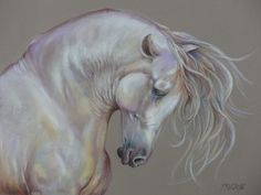WHITE HORSE, Original pastel painting, Hand drawn, Horse head, Large size…