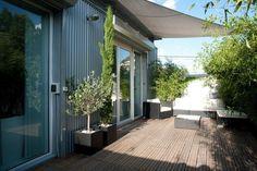 Sonnensegel am Haus montiert - Bambuspflanzen als Sichtschutz