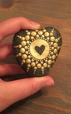 Mandala stone. Handmade by me. Original rock dot art. Dot painting. Painted stone.