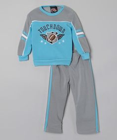 Another great find on #zulily! Blue & Gray Fleece Sweatshirt & Pants - Toddler & Boys #zulilyfinds