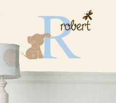 Initial Name Elephant Dragonfly Kids Vinyl Wall Decal Sticker. $28.50, via Etsy.
