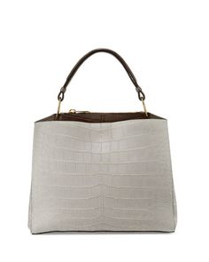 Seven+Cocco+Alligator+&+Leather+Tote+Bag,+Pearl+Gray/Taupe/Winter+White+by+VBH+at+Bergdorf+Goodman.