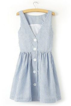 Trendy Style V-Neck Sleeveless Striped Single-Breasted Women's Sundress Summer Dresses | RoseGal.com Mobile
