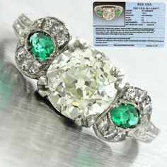 1920s-Antique-Art-Deco-Platinum-1-82ct-Round-Diamond-Emerald-Engagement-Ring