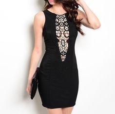 Cut Out Crochet Detail Bodycon Dress in Black #USTrendy www.ustrendy.com