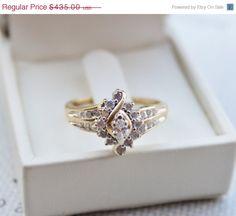 CIJ 15 OFF Vintage 14K Gold Marquise Diamond Ring by DesignzByRuth