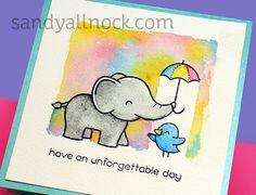 Wet in Wet Watercolor Background – Elfie Selfie – Sandy Allnock