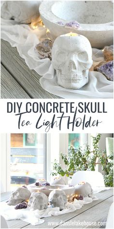 DIY Concrete Skull Candle Holder Tutorial for Halloween. Looking for chic and modern Halloween decorating ideas? Concrete skulls make spooky and beautiful Halloween decorations and they're easy to make. This skull candle holder adds some macabre glam to a minimal Halloween tablescape. This DIY skull candle holder is fun to make and has a cool, organic vibe. #halloweendecor #diyhalloween #skull Modern Halloween Decor, Halloween Prints, Diy Halloween Decorations, Halloween Diy, Halloween Projects, Skull Crafts, Skull Decor Diy, Skull Candle, Concrete Crafts