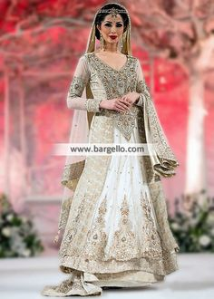 Amazing Off-White Bridal Lehenga Pakistani Designer Wedding Lehenga Bridal Wear