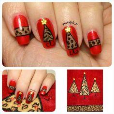 animal print Christmas nail art inspired by hand towel