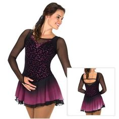 WEBSTA @ figureskating_store - Jerry's Figure Skating Dress 244 - Evening Primrosehttps://figureskatingstore.com/black-dressesLong black mesh sleeves and mulberry glitter form a sophisticated palette for this classy style. Shaped trim in sequins and mesh add subtle accents and the dip-dyed skirt shades from black to mulberry for a smooth finish. Lined#figureskatingstore #figureskating#iceskating #skating #figureskater #фигурноекатание #iceskate #ice #skates #dress #icedance