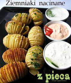 Pieczone nacinane ziemniaki Fresh Rolls, Veggie Recipes, Grilling, Special Occasion, Bbq, Veggies, Potatoes, Vegetarian, Holidays