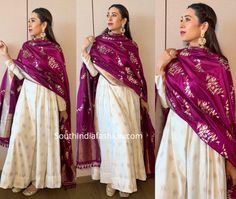 Karisma kapoor attended an event in kolkata wearing an off-white anarkali suit with purple banarasi dupatta by ekaya banaras. Jewelry from azotiique and fizzy goblet juttis complemented her look! Lehenga Designs, Kurta Designs, Kurti Designs Party Wear, Saree Blouse Designs, Party Wear Indian Dresses, Designer Party Wear Dresses, Indian Fashion Dresses, Dress Indian Style, Indian Outfits