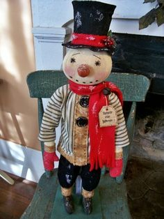 Oldecrow'Shill Primitive Folk Art Snowman Chimney Sweep Doll Christmas Winter | eBay