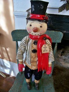 Oldecrow'Shill Primitive Folk Art Snowman Chimney Sweep Doll Christmas Winter   eBay