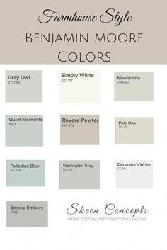 Ways To Add Farmhouse Style To Your Home Farmhouse Style inspired paint colors from Benjamin Moore. How to add Farmhouse Style to your home. Farmhouse Style inspired paint colors from Benjamin Moore. How to add Farmhouse Style to your home. Interior Paint Colors, Paint Colors For Home, Basement Paint Colors, Small Bedroom Paint Colors, Fixer Upper Paint Colors, Paint Colors For Living Room, Colors For Bathrooms, Gray Living Room Walls, Calming Bedroom Colors