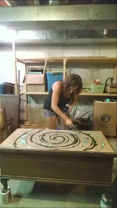 Refurbished Furniture, Repurposed Furniture, Furniture Makeover, Painted Furniture, Gel Stain Furniture, Tye Dye, Woodworking Techniques, Woodworking Projects, Woodworking Classes