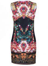 Black Sleeveless Floral Birds Print Dress - Sheinside.com
