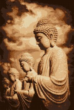 Cross stitch pattern Buddhas PDF- EASY chart with one color per sheet And regular chart! Two charts in one! by HeritageCharts on Etsy