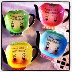 """""""I Will Hold The Teabag"""" tea bag holders....I have a similar set of these with a wire holder...aren't they cute?"""