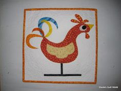 Sheila's Quilt World  #rooster  #applique  Want to try this in primitive wool colors