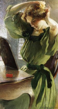 John White Alexander (7 October 1856 – 31 May 1915) was an American portrait, figure, and decorative painter and illustrator.   http://www.the-athenaeum.org/art/list.php?m=a=du=478
