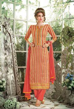 Orange Designer Suit - Desi Royale