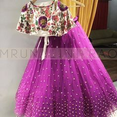 Beautiful purple color lehenga with floral crop top from Mrunalini Rao. mail on enquiry. Frocks For Girls, Dresses Kids Girl, Kids Outfits, Girls Dresses Sewing, Kids Dress Wear, Kids Gown, Baby Dress Design, Frock Design, Lehanga For Kids