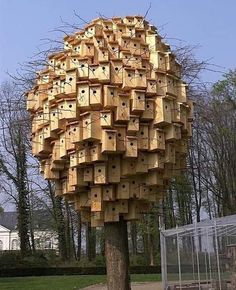 Bird House Plans, Bird House Kits, Gnome House, Bird House Feeder, Bird Feeders, Modern Birdhouses, Homemade Bird Houses, Instalation Art, Bird Aviary