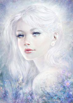 Snow white hair ice girl Art Print by milyknight Fantasy Women, Fantasy Girl, Character Inspiration, Character Art, Snow White Hair, Digital Art Girl, Digital Portrait, Fantasy Artwork, Beautiful Artwork