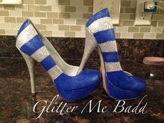 These are blue and silver striped glitter heel. Handpainted and glittered. Need it in another color?? Ill make them in any color combination. *For