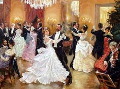 Alan Maley (1931-1995) - A British visual effects artist.  Depiction of a high society - fancy dress ball.