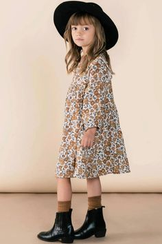 Rylee + Cru Piper Dress Long Sleeve Floral Dress for Little Girls – Fall Outfit Ideas for Kids – Cute Back To School Outfit Inspiration – Rylee and Cru Girl Clothing Inspiration Girls Fall Dresses, Girls Fall Outfits, Cute Girl Dresses, Little Girl Outfits, Little Girl Fashion, Toddler Girl Outfits, Toddler Fashion, Kids Fashion, Children Outfits