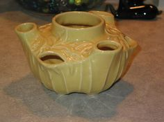 1949 McCoy Pottery IVY BOWL/ Strawberry Pot leaf design yellow glaze by Junctique